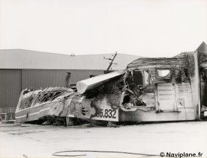 """Arrière bâbord du N500-01 """"Côte d'Argent"""" après l'incendie"""