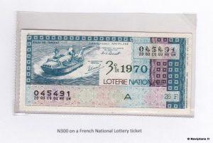 Billet de la Loterie Nationale sur lequel figure le N300