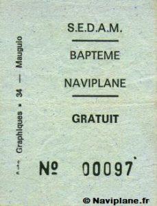 Ticket de baptême de Naviplane